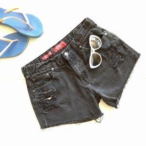 ARIZONA ripped distressed black denim shorts